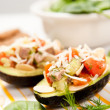 Avocado Halves Filled with Tomatoes, Beef and Toasted Almonds — Stock Photo