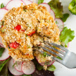Stock Photo: Fresh Delicious Crabcake Served with Radishes and Spices