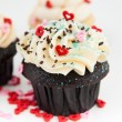 Valentine's Day Chocolate Cupcake with Tiny Hearts — Stock Photo #29075355
