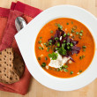 Tomato Soup with Sour Cream — Stock Photo