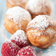 Danish Pancakes with Raspberries and Sugar — Stock Photo