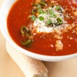 Bowl of Bright Red Creamy Tomato Soup — Stock Photo