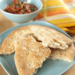 Stock Photo: Flat Bread Pieces Served with Fresh Salsa