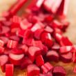 Bright Red Rhubarb Chopped Before Cooking or Baking — Stock Photo