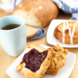 Cherry Puff Pastry Tart, Danish and Scone for Breakfast — Stock Photo