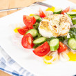 Seared Cod on Bed of Greens and Colorful Vegetables — Stock Photo