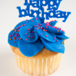Vanilla Cupcake with Bright Blue Icing and Happy Birthday Sign — Stock Photo