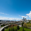 Seattle Skyline on Sunny Day Facing Puget Sound — Stock Photo