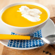Stock Photo: Butternut Squash Soup with Cream and whole Grain Bread