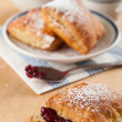 Puff Pastry Squares Served with Jam and Tea — Stock Photo