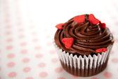 Chocolate Cupcake with Mini-Hearts — Stock Photo