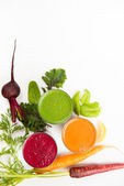 Various Freshly Squeezed Vegetable Juices — Stock Photo