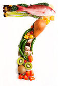 Healthy Vegetables, Meats, Fruit and Fish Shaped in Number Seven 7 — Stock Photo