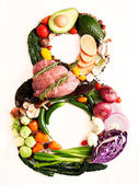 Healthy Vegetables, Meats, Fruit and Fish Shaped in Number Eight 8 — Stock Photo