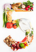 Healthy Vegetables, Meats, Fruit and Fish Shaped in Number Five 5. — Stock Photo