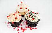 Valentine's Day Chocolate and Vanilla Cupcakes — Stock Photo