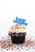 Festive Chocolate Cupcake Topped with Colorful Sprinkles and Happy Birthday Sign — Stock Photo