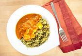 Paneer Tikka Masala with Spinach and Basmati Rice — Stock Photo
