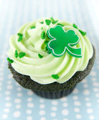 Chocolate Cupcakes with Green Icing — Stock Photo