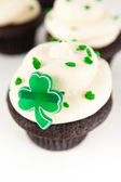 Chocolate Cupcakes with Green Icing, Sprinkles, and Clover — Stock Photo