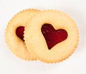 Linzer Cookies with Heart Shape Window — Stock Photo