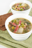 Potato and Leek Soup With Bacon and Sour Cream — Stock Photo