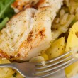 Dinner Plate with Fried Potatoes and Grilled Cod — Stock Photo