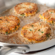 Stock Photo: Frying Crab Cakes
