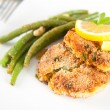 Salmon and Sweet Potato Cakes with Green Beans — Stock Photo #29080749