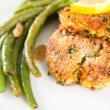 Salmon and Sweet Potato Cakes with Green Beans — Stock Photo #29080783