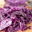 Red Cabbage on Wooden Cutting Board — Stock Photo