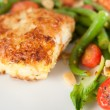 Stock Photo: Cod Fried in Coconut Flakes Served with Sauteed Vegetables