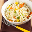 Cole Slaw with Green Onions, Carrots and Mango Pieces — Stock Photo