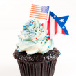 Patriotic Chocolate Cupcakes with Red and Blue Frosting for Independence Day — Stock Photo #29081715