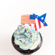 Patriotic Chocolate Cupcakes with Red and Blue Frosting for Independence Day — Stock Photo #29081731