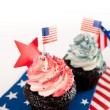 Patriotic Chocolate Cupcakes with Red and Blue Frosting for Independence Day — Stock Photo