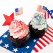 Patriotic Chocolate Cupcakes with Red and Blue Frosting for Independence Day — Stock Photo #29081743