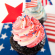Patriotic Chocolate Cupcakes with Red and Blue Frosting for Independence Day — Foto Stock