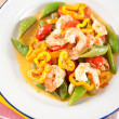 Shrimp, Tomatoes, Bell Peppers and Snap Peas Sauteed in Coconut Milk — Stock Photo #29081813