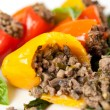 Beef and vegetables Stuffed Mini Bell Peppers — Stock Photo