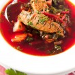 Borscht with Beef and Beets — Stock Photo