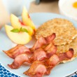 Stock Photo: Traditional Breakfast of Bacon, Eggs and Coffee with Peaches for Dessert