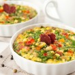 Flour-less Quiche with Spinach and Bell Peppers — Stock Photo