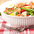 Green Bean Salad with Boiled Eggs, Salmon, Tomatoes and Arugula — Stock Photo #29083347