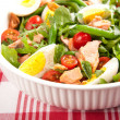 Stock Photo: Green BeSalad with Boiled Eggs, Salmon, Tomatoes and Arugula