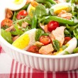 Stock Photo: Green Bean Salad with Boiled Eggs, Salmon, Tomatoes and Arugula