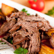 Paleo Style Lunch or Dinner with Pulled Beef and Roasted Yellow Beets — Stock Photo