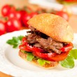 Pulled Pork Slider Sandwich with Peppers and Tomatoes — Stock Photo