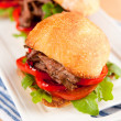 Plate of Three Small Slider Sandwiches with Pulled Beef and Red Bell Peppers — Stock Photo #29083975