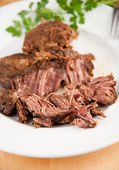 Big Piece of Slow Cooked Grass Fed Organic Beef — Stock Photo